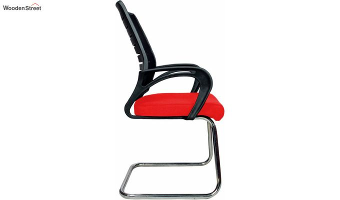 Low Back Fabric and Mesh/Net Visitor Chair (Red)-3