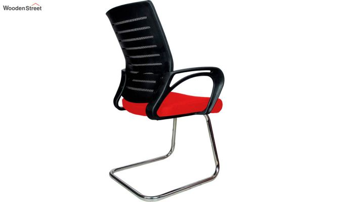 Low Back Fabric and Mesh/Net Visitor Chair (Red)-4