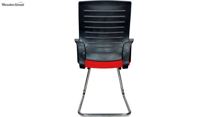 Low Back Fabric and Mesh/Net Visitor Chair (Red)-5
