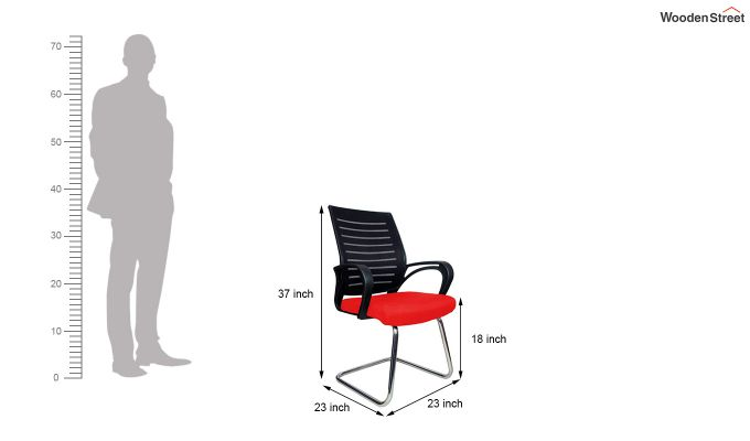 Low Back Fabric and Mesh/Net Visitor Chair (Red)-7