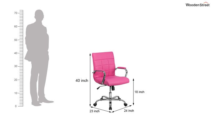 MB PU Leatherette Executive Task Chair (Pink)-6