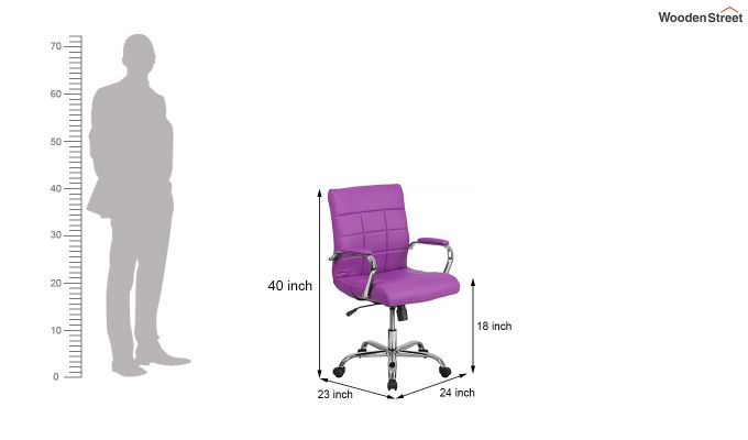 MB PU Leatherette Executive Task Chair (Purple)-8