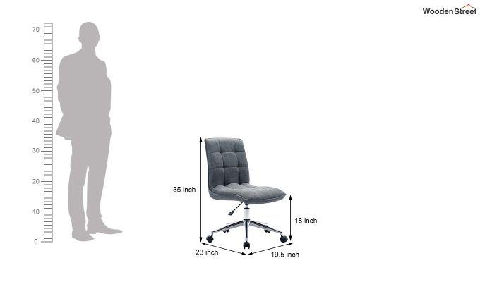 Porthos Home Lada Adjustable Swivel Fabric Office Chair (Grey)-5