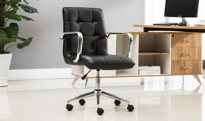 Porthos Home Lada Adjustable Swivel Faux Leather Office Chair With Arms (Black)-1