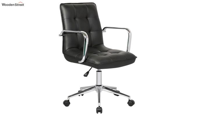 Porthos Home Lada Adjustable Swivel Faux Leather Office Chair With Arms (Black)-2