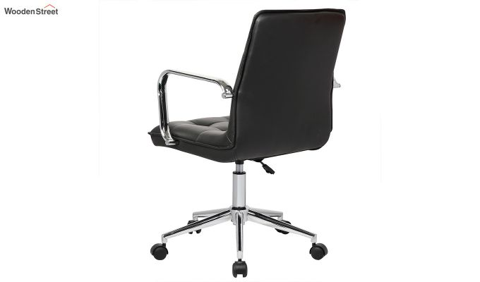Porthos Home Lada Adjustable Swivel Faux Leather Office Chair With Arms (Black)-4