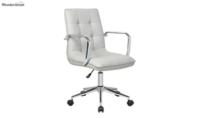 Porthos Home Lada Adjustable Swivel Faux Leather Office Chair With Arms (Grey)-1