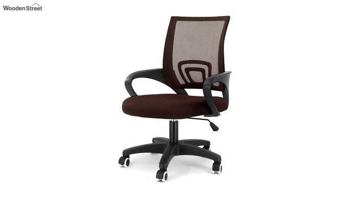 Porus Brown Mesh Revolving Office Chair-1