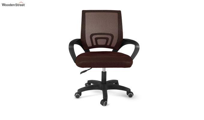 Porus Brown Mesh Revolving Office Chair-2