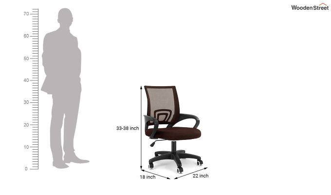 Porus Brown Mesh Revolving Office Chair-6