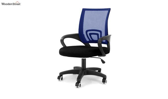 Porus Black & Blue Mesh Revolving Office Chair-1