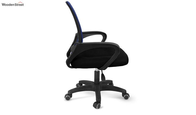 Porus Black & Blue Mesh Revolving Office Chair-3
