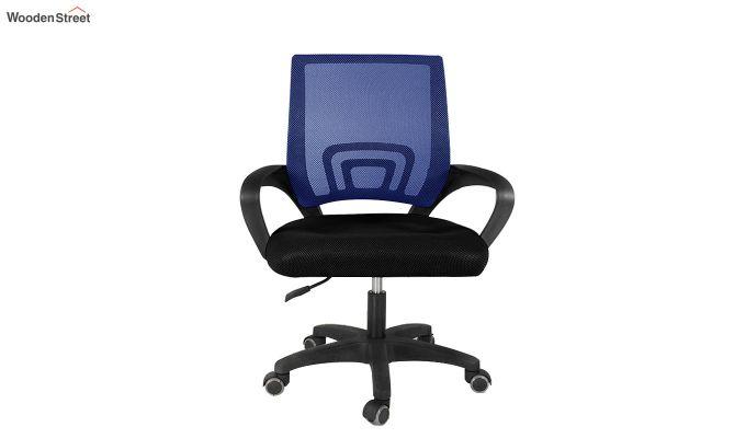 Porus Black & Blue Mesh Revolving Office Chair-2