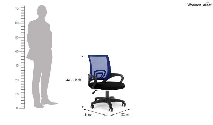 Porus Black & Blue Mesh Revolving Office Chair-4