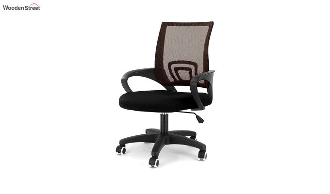 Porus Black & Brown Mesh Revolving Office Chair-2