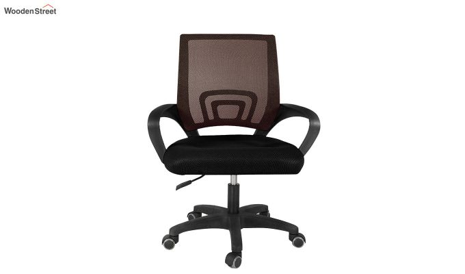 Porus Black & Brown Mesh Revolving Office Chair-1