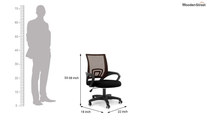 Porus Black & Brown Mesh Revolving Office Chair-3