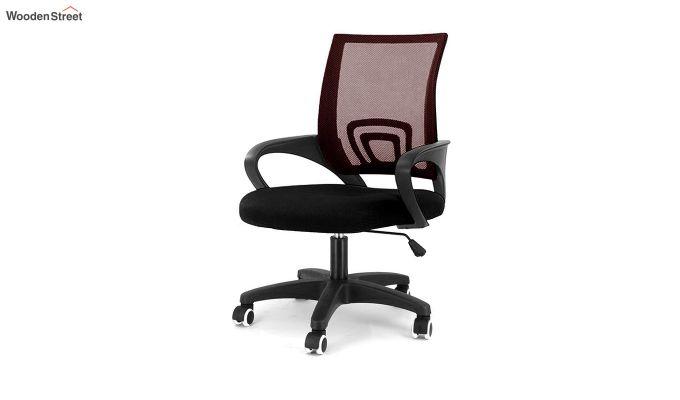 Porus Black & Burgandy Mesh Revolving Office Chair-1