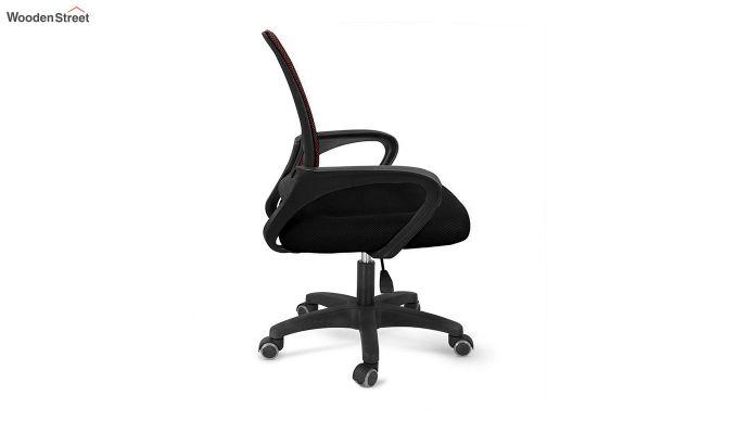 Porus Black & Burgandy Mesh Revolving Office Chair-2