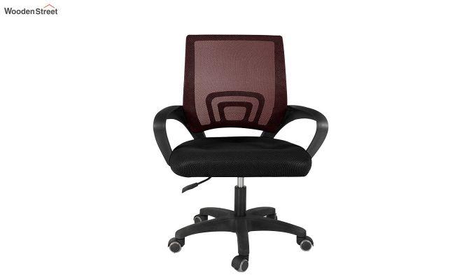 Porus Black & Burgandy Mesh Revolving Office Chair-3
