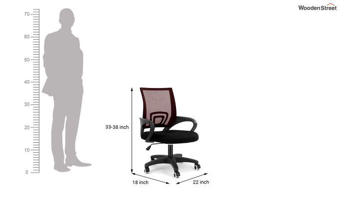 Porus Black & Burgandy Mesh Revolving Office Chair-4