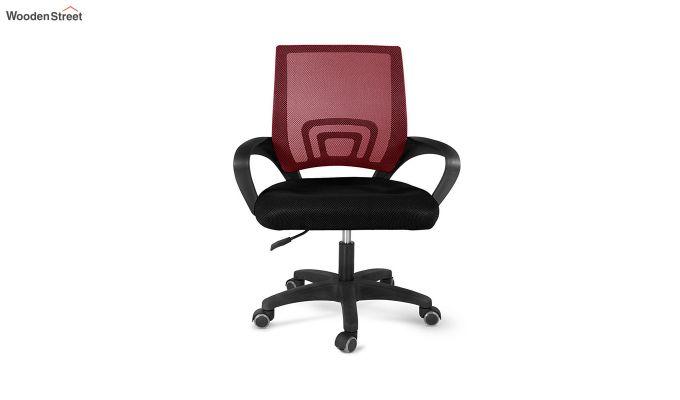 Porus Black & Red Mesh Revolving Office Chair-3