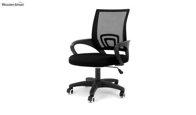 Porus Black Mesh Revolving Office Chair-1