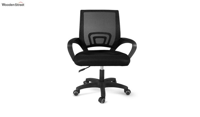 Porus Black Mesh Revolving Office Chair-2