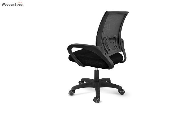 Porus Black Mesh Revolving Office Chair-4