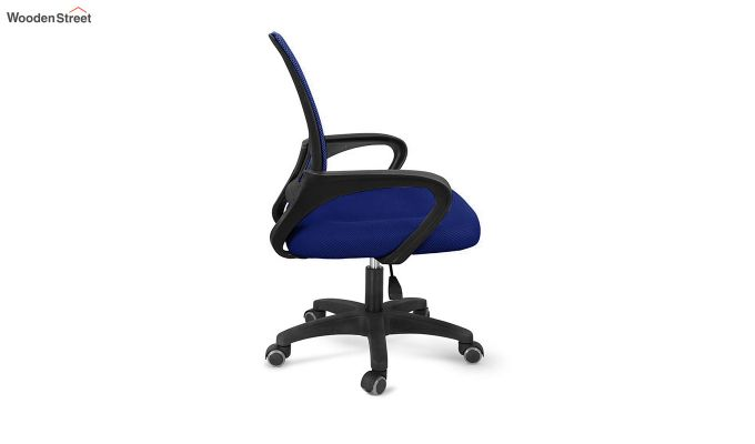 Porus  Blue Mesh Revolving Office Chair-3