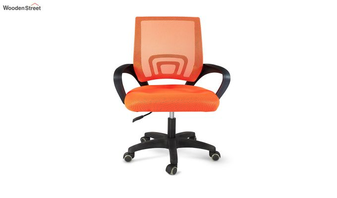 Porus Orange Mesh Revolving Office Chair-3