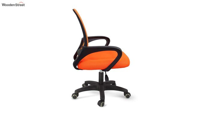 Porus Orange Mesh Revolving Office Chair-4