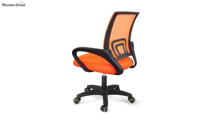 Porus Orange Mesh Revolving Office Chair-5