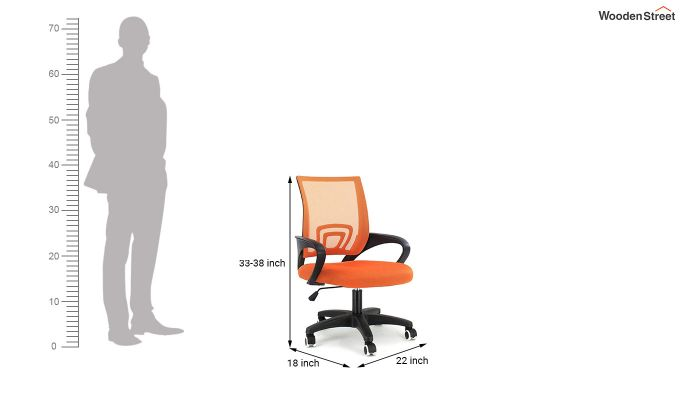 Porus Orange Mesh Revolving Office Chair-1
