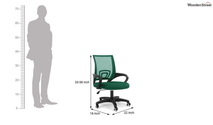 Porus Pearl Green Mesh Revolving Office Chair-5