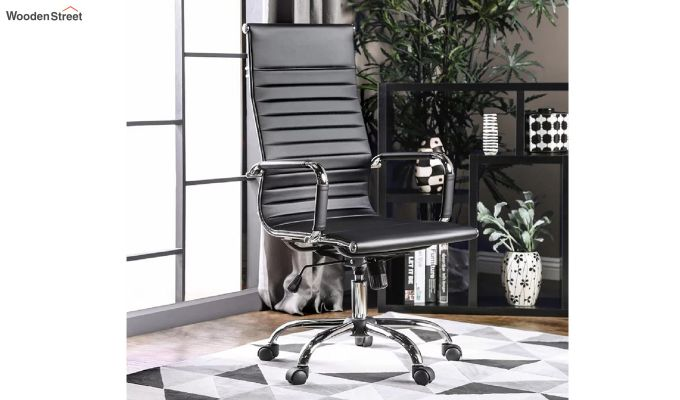 PU Leather Revolving High Back Desk Chair with Arms (Black)-1