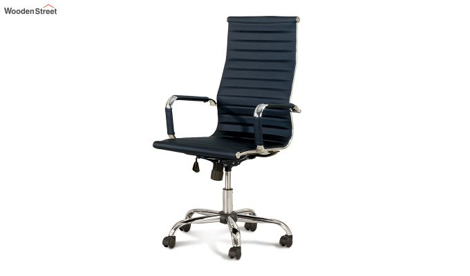 PU Leather Revolving High Back Desk Chair with Arms (Black)-2