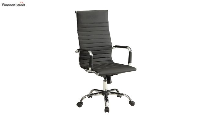 PU Leather Revolving High Back Desk Chair with Arms (Black)-3