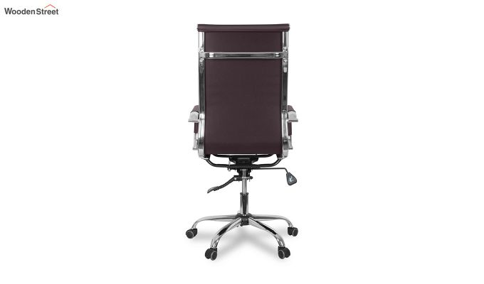 PU Leather Revolving High Back Desk Chair with Arms (Black)-5