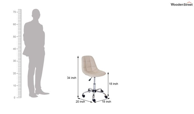 Rochelle Leatherette Office Chair (Cream)-7
