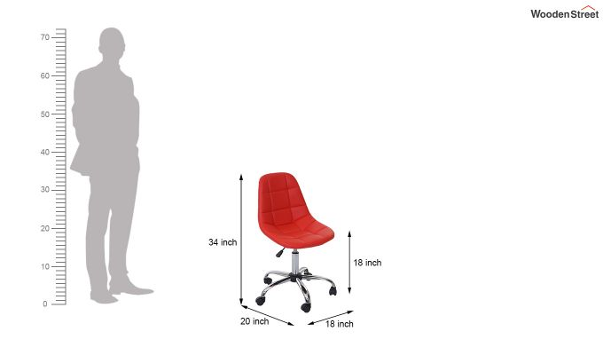Rochelle Leatherette Office Chair (Red)-6