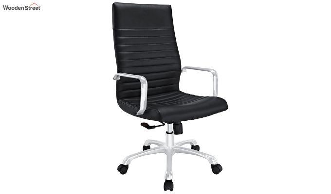 Sleek Line High Back Leatherette Executive Chair (Black)-2