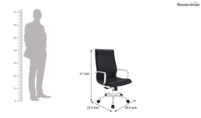 Sleek Line High Back Leatherette Executive Chair (Black)-5