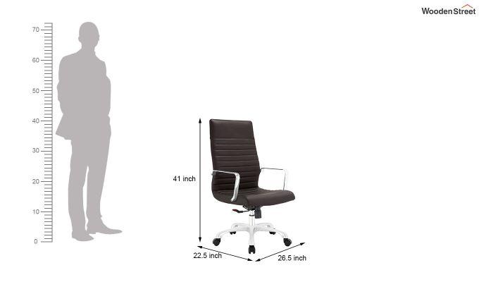 Sleek Line High Back Leatherette Executive Chair (Brown)-5