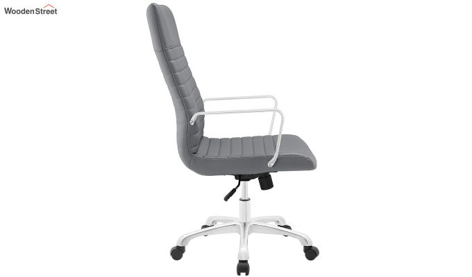 Sleek Line High Back Leatherette Executive Chair (Grey)-3
