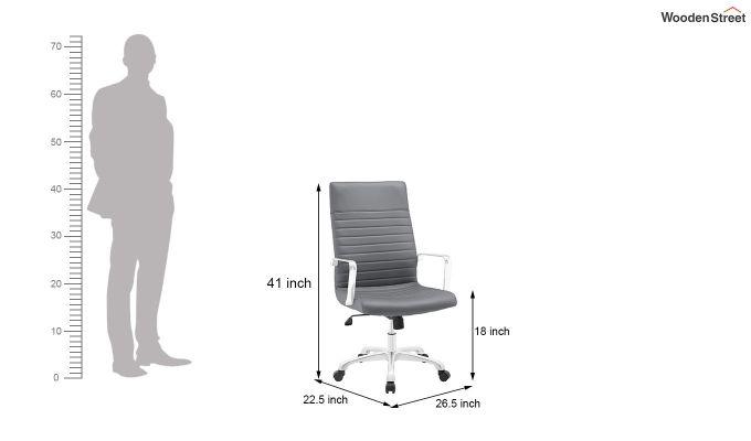 Sleek Line High Back Leatherette Executive Chair (Grey)-5