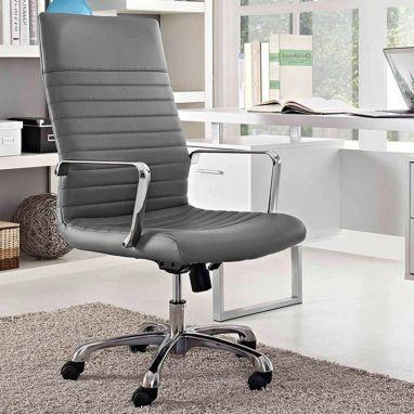 Sleek Line High Back Leatherette Executive Chair (Grey)