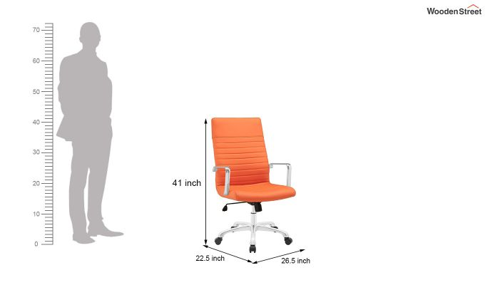 Sleek Line High Back Leatherette Executive Chair (Orange)-5