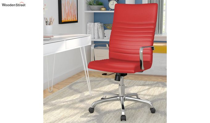 Sleek Line High Back Leatherette Executive Chair (Red)-1