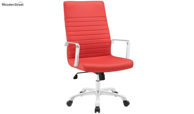Sleek Line High Back Leatherette Executive Chair (Red)-2